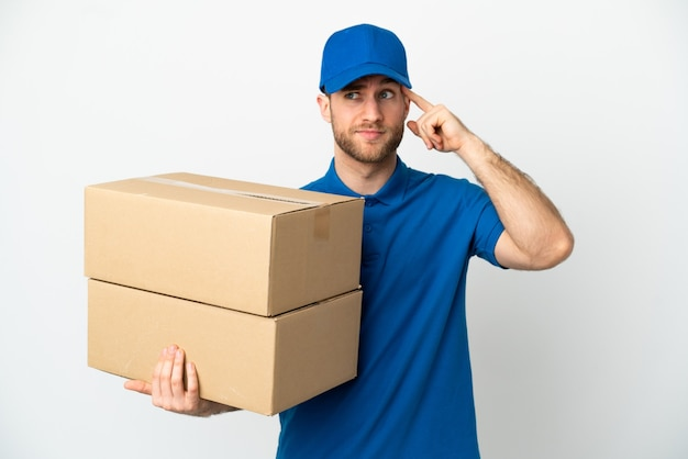 Delivery man isolated having doubts and thinking