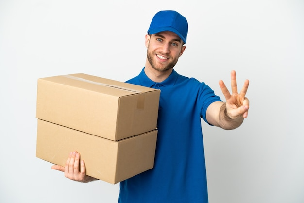 Delivery man over isolated white background happy and counting three with fingers