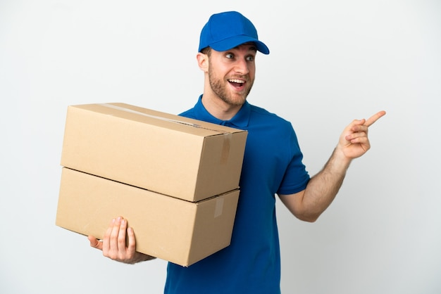 Delivery man over isolated white background intending to realizes the solution while lifting a finger up