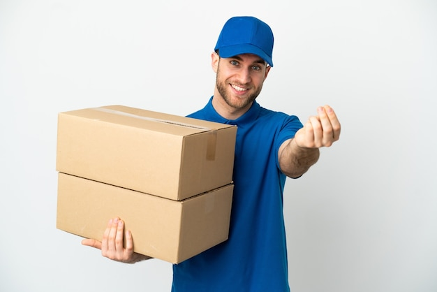 Delivery man over isolated white background making money gesture