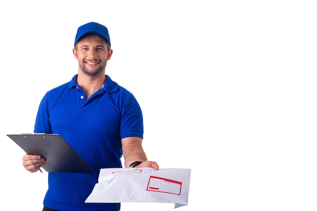 Delivery man packing boxes for prepare shipping to customer