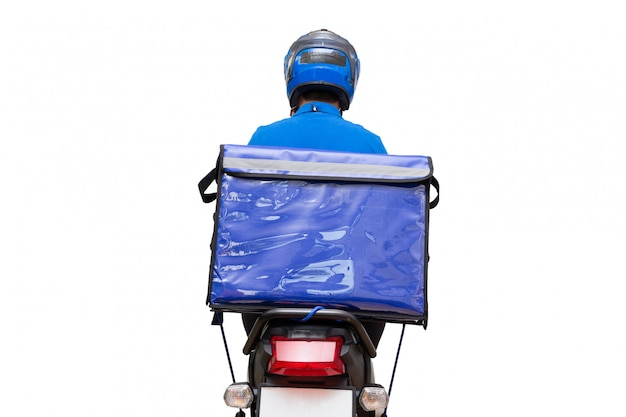 Delivery man wearing blue uniform riding a motorcycle