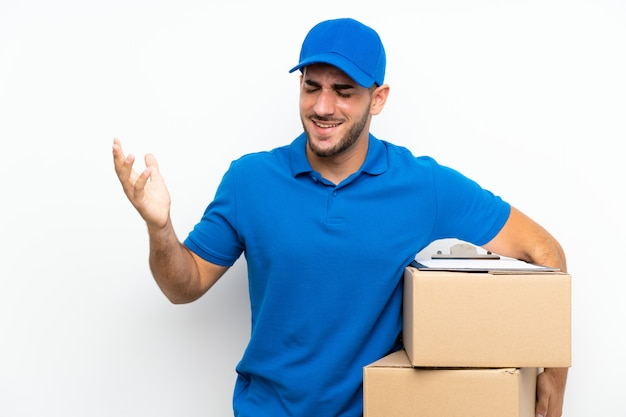 Delivery man  on white  laughing