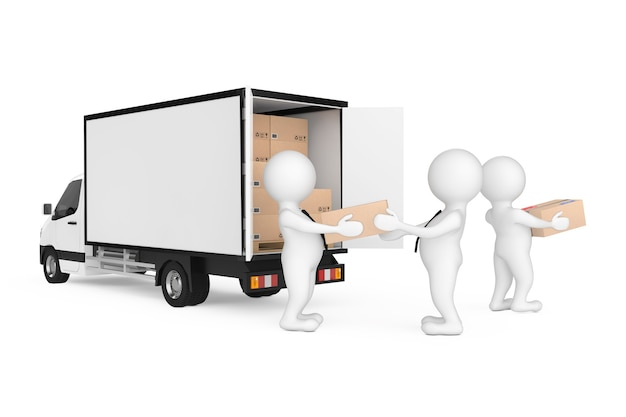 Delivery men persons unloading cardboard parcel boxes from cargo van truck on a white background. 3d rendering
