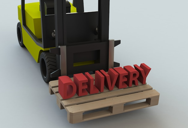 Delivery, message on wooden pillet with forklift truck, 3d rendering