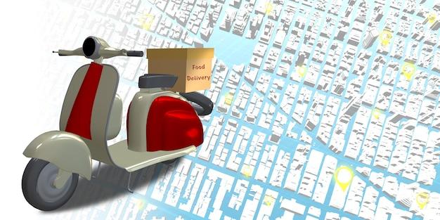 Доставка мотоцикла карта города точка gps координата штырь локатора система онлайн-доставки 3d иллюстрация