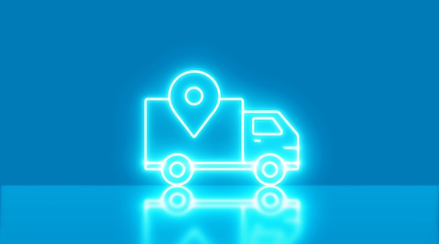 青い背景の上の配信ネオンライトアイコン。コンセプトの移動と輸送。 3dイラスト。