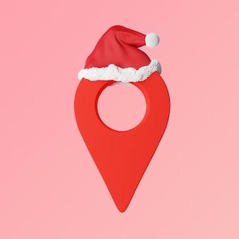 クリスマスプレゼントの配達、地図はサンタの帽子で赤を指します。高品質の写真
