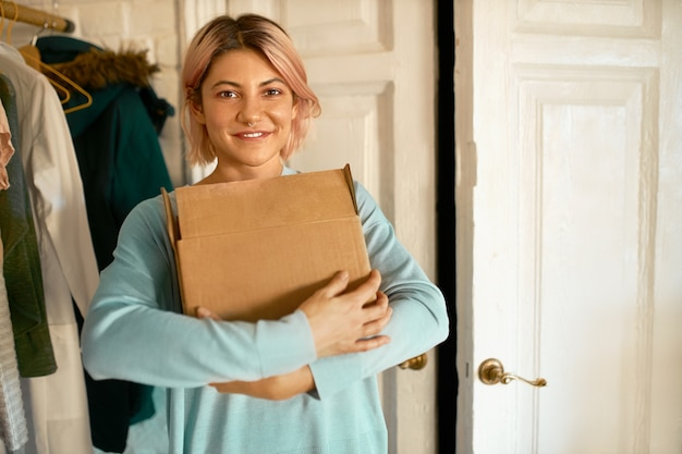 Delivery, online shopping and people concept.