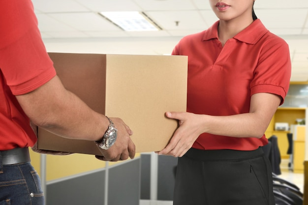 Delivery package to woman