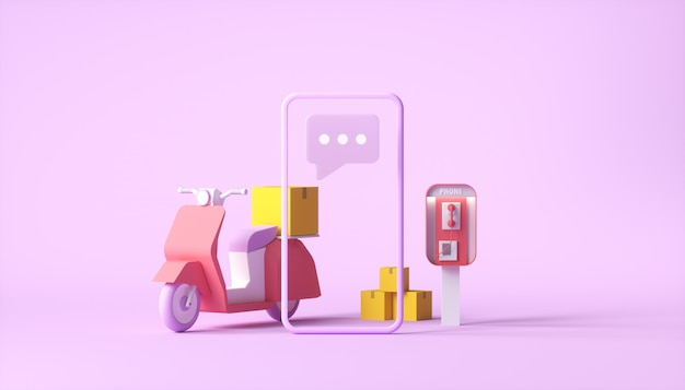 Delivery scooter with smartphone on pink background