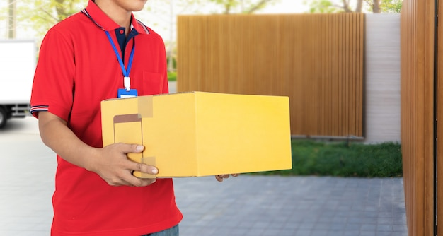 Delivery service boxes package from delivery man