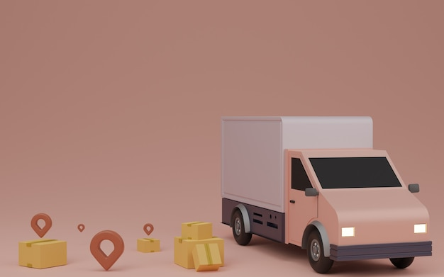 Delivery service concept, delivery to home. delivery van, brown box package and pin. 3d rendering.