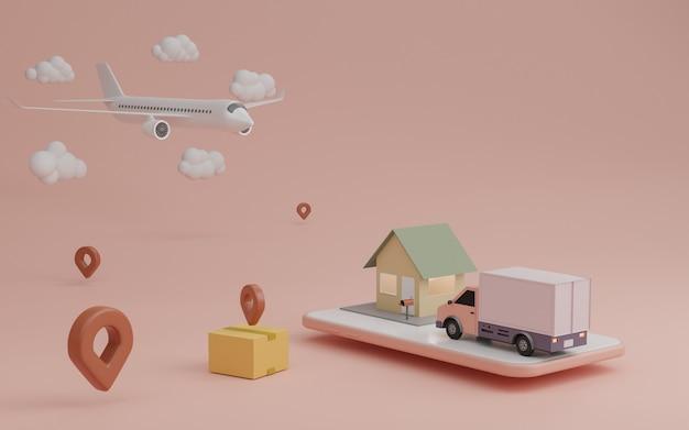 배달 서비스 개념, 집으로 배달. 배달용 밴, 비행기 운송화물
