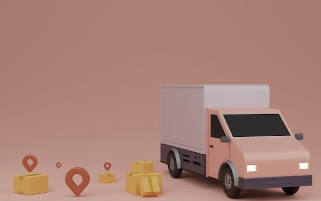 배달 서비스 개념, 집으로 배달. 배달용 밴, 갈색 상자 패키지 및 핀. 3d 렌더링.