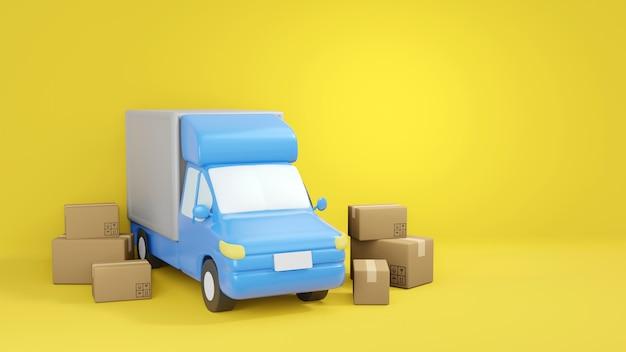 配達サービスのコンセプト、黄色のボックスで囲まれた配達トラック