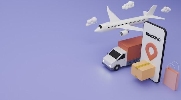 배달 서비스 개념. 배달용 밴, 비행기 운송화물, 쇼핑백 및 갈색 상자 운송