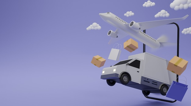 Delivery service concept. delivery van, airplane shipping cargo, shopping bag and brown box