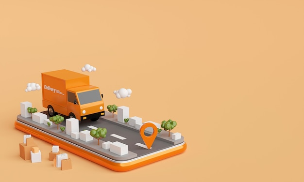 Delivery service on mobile application 3d rendering