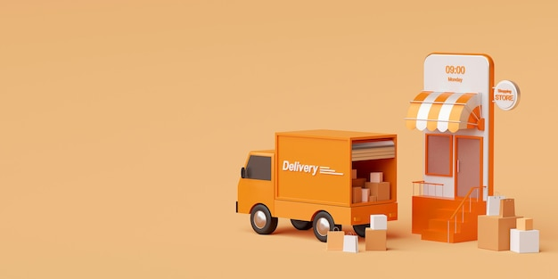 Delivery service on mobile application transportation delivery by truck 3d rendering