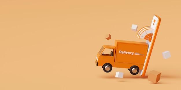모바일 애플리케이션의 배달 서비스 트럭 3d 렌더링으로 운송 배달