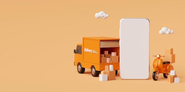 Служба доставки в мобильном приложении доставка транспорта грузовиком или скутером 3d рендеринг