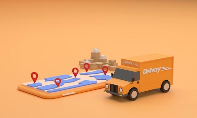 Грузовик доставки и мобильный, показывающий навигатор, отображает символы пункта назначения доставка онлайн-покупок