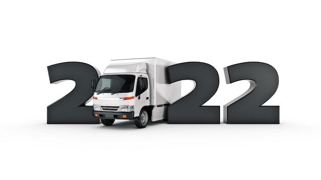 配達トラックのコンセプト2022年新年のサイン3dレンダリング3dレンダリング