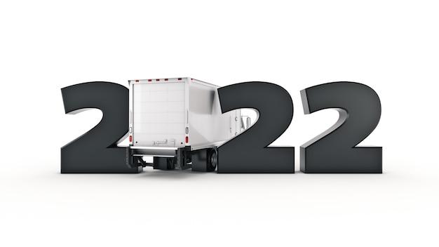 Концепция грузовика доставки 2022 новый год знак 3d рендеринг 3d рендеринг
