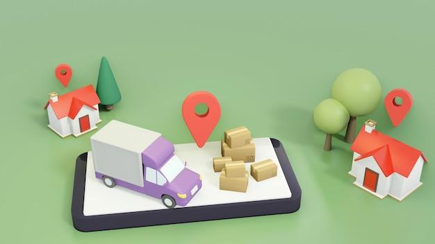 配送トラックは場所ごとに商品を配送します