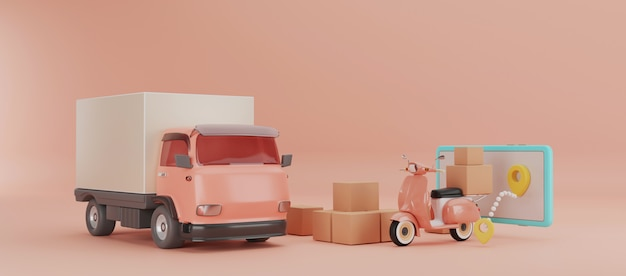 Delivery truck, scooter with boxes 3d illustration.