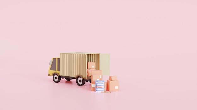 배달 트럭 밴 및 클립보드 및 상자. 온라인 배달 서비스 개념입니다. 배달 집과 사무실을 확인하십시오. 빠른 서비스 트럭. 3d 그림
