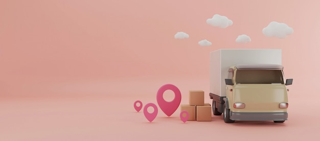 Delivery truck with boxes 3d illustration