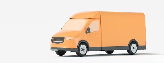 배달 밴, 흰색 바탕에 노란색 밴입니다. 배송, 배달 서비스 및 운송 개념. 3d 렌더링 그림