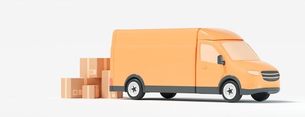 배달 밴, 흰색 바탕에 포장된 노란색 밴. 배송, 배달 서비스 및 운송. 3d 렌더링 그림