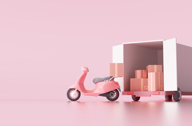 Delivery via motorcycle and truck concept for web banner