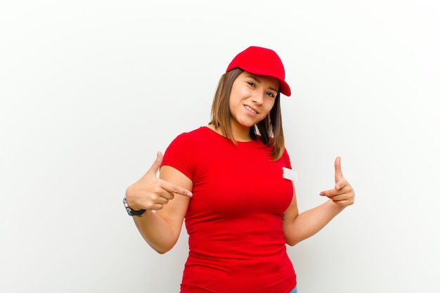 Delivery woman looking proud