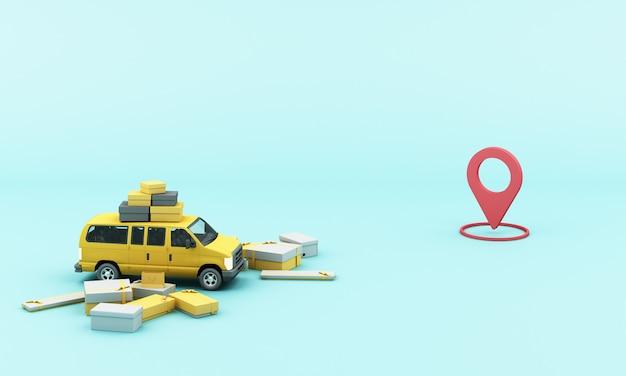 위치 모바일 응용 프로그램과 함께 배달 노란색 밴