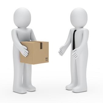 Deliveryman in mano una scatola