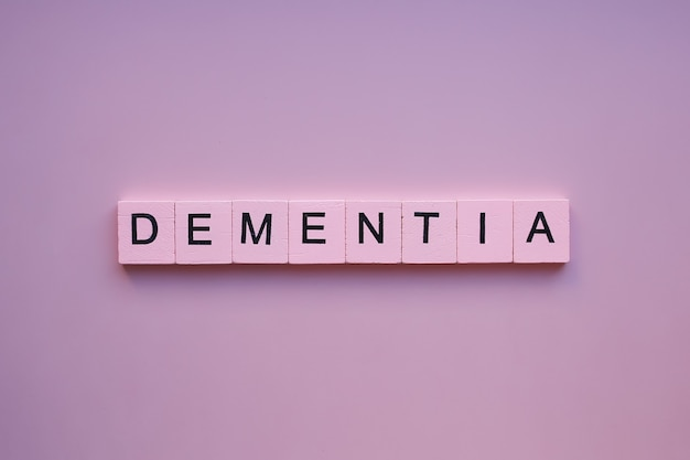 Dementia word on pink background