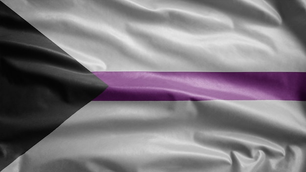 Demisexuality flag waving on wind. demisexual banner blowing soft silk