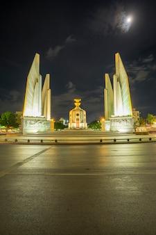 Democracy monument in night bangkok thailand