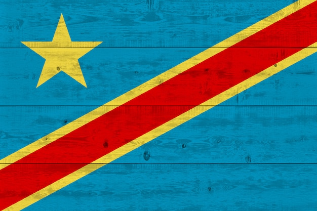 Democratic republic of the congo flag painted on old wood plank