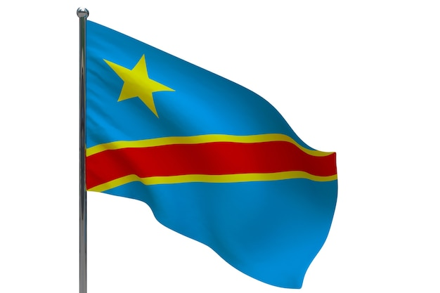 Флаг демократической республики конго на шесте. металлический флагшток. национальный флаг демократической республики конго 3d иллюстрация на белом