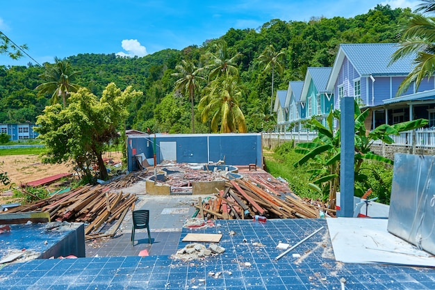 Demolition of a house destroyed by a hurricane. construction garbage