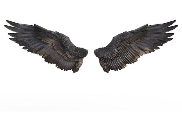 Крылья демонов, черное крыло оперение, изолированных на белом фоне