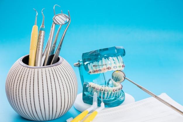 Demonstration teeth model of varieties of orthodontic bracket or brace
