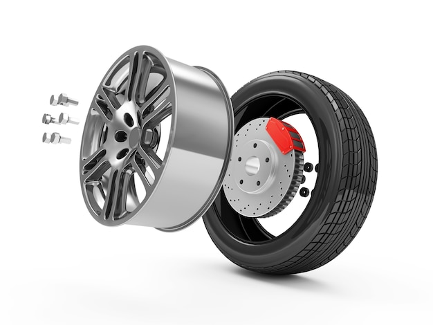 Demounted car wheel isolated on white