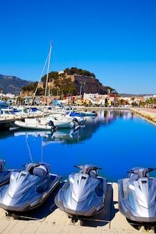 Denia marina port and castle in alicante at spain