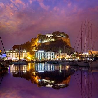 Denia port sunset in marina at alicante spain